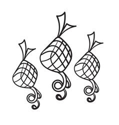 Hand drawn doodle ketupat indonesian food vector