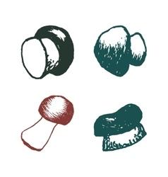 hand drawn mushrooms set vector image