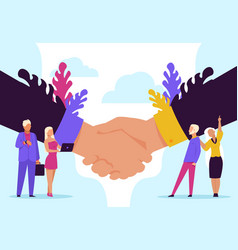 Handshake concept cartoon business partnership vector