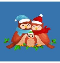 Happy family owls mom dad and bain a warm vector