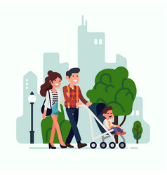 happy young adult parents walking along a street vector image