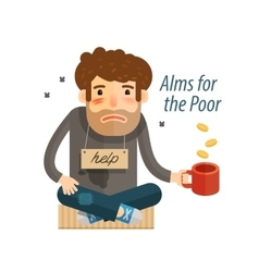 Homeless Poor man in dirty rags with mug in hand vector
