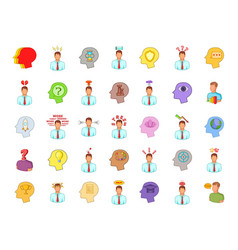 human idea icon set cartoon style vector image