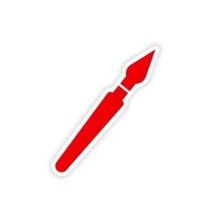Icon sticker realistic design on paper pen vector