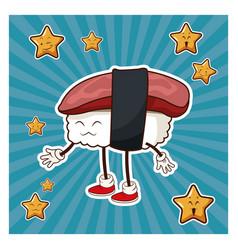 kawaii sushi chinese food funny character vector image