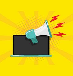 laptop with megaphone online marketing concept vector image