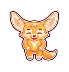 Laughing fennec fox with paws on its belly cute vector