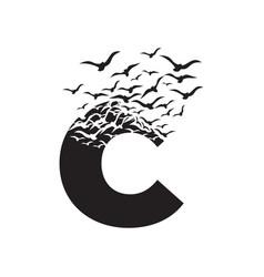 Letter c with effect destruction dispersion vector