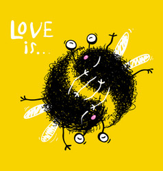love is hugging monsters vector image