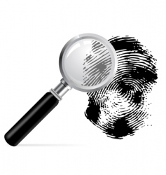 Magnifier with scanned fingerprint vector