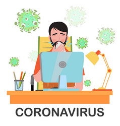 man sick and spreads germs in workplace vector image
