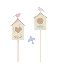 Nestling boxes and birds vector