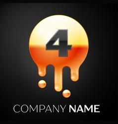 number four splash logo golden dots and bubbles vector image