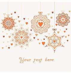 ornate christmas balls in hearts snowfall vector image