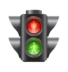 Realistic traffic lights for pedestrians vector