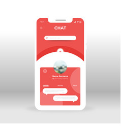 Red chat ui ux gui screen for mobile apps design vector