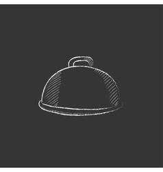 Restaurant cloche Drawn in chalk icon vector image