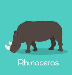 Rhinoceros cartoon on sky blue background vector