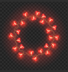 round frame of light bulbs festive garland vector image