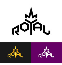 royal text logo with crown symbol word royal vector image