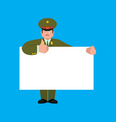 Russian officer holding banner blank soldier vector