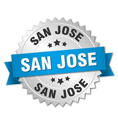 San Jose round silver badge with blue ribbon vector image