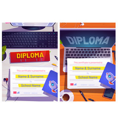 school diploma design with computer desk top view vector image