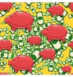 Seamless background piggy bank vector