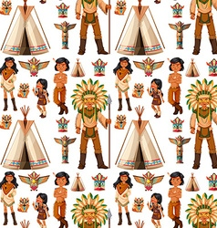 Seamless background with native american indians vector