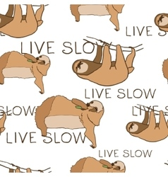 Seamless pattern with cute sloths and hand vector image