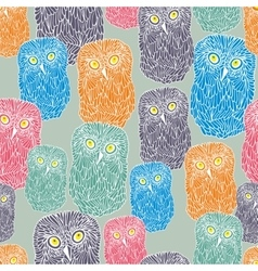 Seamless pattern with doodle owl cute bird of the vector