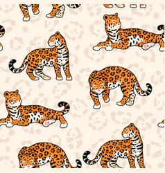 seamless pattern with jaguar and animal print vector image