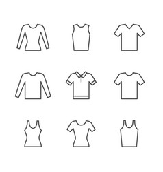 set line icons of t-shirt singlet long sleeve vector image