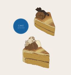 set of cake coffe cake skatech vector image