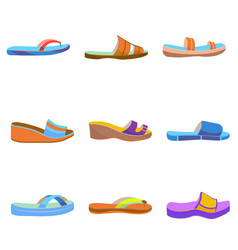 Set of colorful women slippers vector