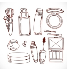 Set of doodles on cosmetics creameye shadow vector image