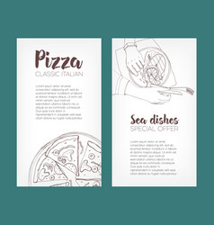 set of flyer templates with contour drawings of vector image