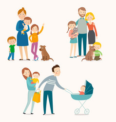 set of happy families with kids and pets vector image