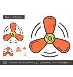 Ship propeller line icon vector