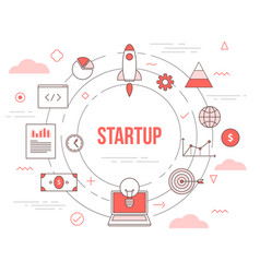 Startup business concept with icon set template vector