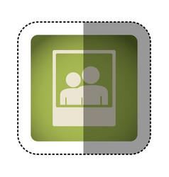 sticker color square with picture icon vector image