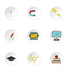 Study icons set flat style vector