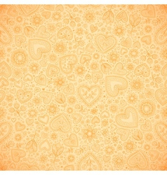 Sweet doodle hearts seamless pattern vector image