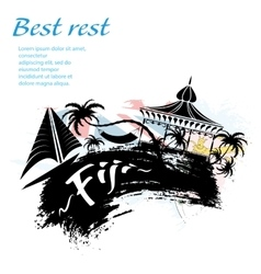 Travel fiji grunge style vector