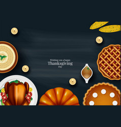 Turkey fruits and wine in happy thanksgiving vector