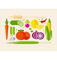 Vegetables in Flat Style vector image