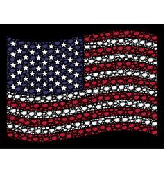 Waving american flag stylization of boom bang vector