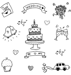 Wedding party doodle flat vector