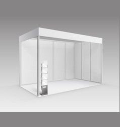 White booth with brochure holder on background vector