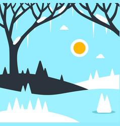 winter landscape flat design vector image